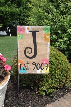 Multi Flower Burlap Garden Flag With Monogrammed Initial And Year