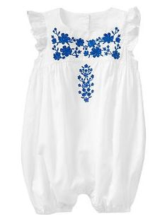 Embroidered flutter one-piece... Summer outdoor baby look 6-18 months girl's outfit