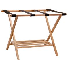 Bamboo Luggage Rack with Tray. Household Essentials Bamboo Luggage Rack is a beautiful and charming way to welcome guests. This collapsible luggage rack stores folded up in just about 2-inches of space, so it easily stores in closets or behind the door. The luggage rack unfolds easily and sets up on a sturdy X-frame. 4 black straps create the rack's top and provide a clean and safe place on which to lay a suitcase. This clever rack also has a fold down shelf underneath to...