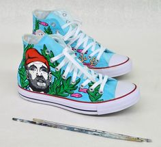 The Life Aquatic Converse - Custom Hand Painted Sneakers Converse Chuck  Taylor White 03fa6960716