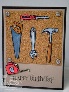 stampin up totally tools Masculine Birthday Cards, Birthday Cards For Men, Handmade Birthday Cards, Masculine Cards, Greeting Cards Handmade, Male Birthday, Boy Cards, Kids Cards, Cute Cards