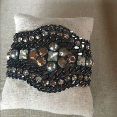 Kahlo bracelet Edgy statement bracelet with a mixture of metals, glass stones, hematite and rose gold. Gold over clasp to fit any size wrist. Stunning! Stella & Dot Jewelry Bracelets