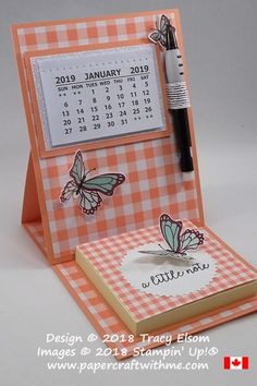 Simple easel card with 2019 calendar and Post-It note pad created using the Butterfly Gala Stamp Set and Gingham Gala DSP from the Gingham Gala suite of products from Stampin' Up! Fun Fold Cards, Folded Cards, Calendar Notes, 2019 Calendar, Calendar Ideas, Kalender Design, Post It Note Holders, Easel Cards, Craft Show Ideas