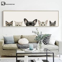 Kawaii Animals Cat Dog Poster Minimalist Art Canvas Painting Wall Picture Long Banner Print Modern Home Room Decoration 391 Canvas Wall Art, Canvas Prints, Canvas Poster, Dog Poster, Wall Decor, Room Decor, Affordable Furniture, Minimalist Art, Home Wall Art