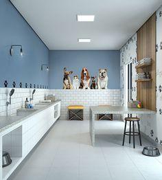 Dog Grooming Shop, Dog Grooming Salons, Dog Grooming Business, Dog Boarding Kennels, Puppy Room, Dog Spa, Pet Hotel, Cool Dog Houses, Pet Resort