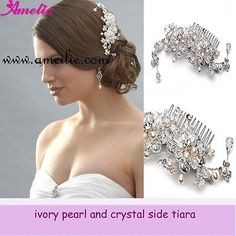 2013 Vintage Diamond pearl bridal Comb headpiece flora Crystal Tiaras Hair