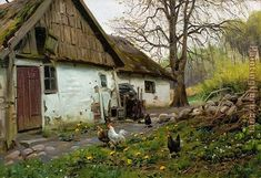 Bromolle Farm with Chickens Painting by Peder Mork Monsted