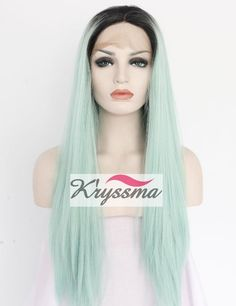 Amazon.com : K'ryssma Christmas Long Ombre Synthetic Wigs for Women Straight Green Wig Dark Roots Heat Resistant Fiber Hair 22 Inches : Beauty