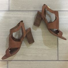 Tan Heels Comfy but stylish Franco Sarto tan, leather heels! Goes great with summer/casual dresses. Slightly worn but still in good condition. Franco Sarto Shoes Heels