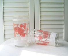 Pink Juice Glasses Shabby Chic Vintage Pink Tumblers Retro Kitchen Mid Century Drinking Glasses Pink Decor Shabby Chic