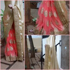 Satin silk & fine net embroidered saree with gold tissue blouse. Price : Rs.5250/- TO ORDER, please mail to keyahboutique@gmail.com with the CODE mentioned in the picture + your contact number.