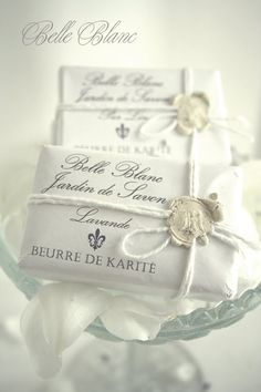 Cute way to package handmade soap. Love the white sealing wax Soap Packaging, Pretty Packaging, Packaging Ideas, Wrapping Gift, Raindrops And Roses, Savon Soap, Soap Display, Soap Recipes, Home Made Soap