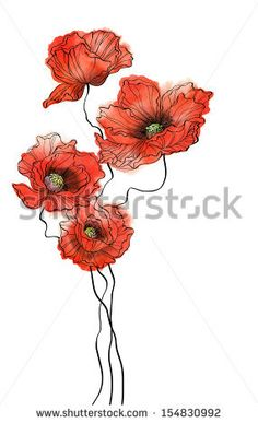 Watercolor Poppies, Pen And Watercolor, Watercolor Design, Red Poppies, Marker Kunst, Marker Art, Flower Tattoo Designs, Flower Tattoos, Ceramic Poppies