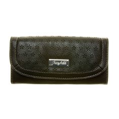 """Envelope-Black Grace Adele Wallet    Secure your money must-haves in this classically designed full-size wallet stamped in playful flower cutouts, sure to match the shade of your favorite Grace Adele bag.     • Faux leather  • 7.5"""" L, 4"""" H    https://myfashions.graceadele.us/GraceAdele/Buy/ProductDetails/10469"""