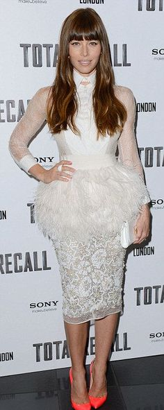 Jessica Biel in a feathered and embroidered Giambattista Valli white dress
