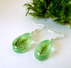 Real Lichen Earrings   green resin Mediterranean Costa por Neraidas, $31.00