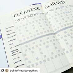 How about a yearly cleaning schedule for 2017? Pretty spiffy. From @pointofviewiseverything. (The cleaning task hidden behind her name is 'Windex'). The Saturday Cleaning spread. . . Repost with repostapp @pointofviewiseverything. Cleaning schedule, layout inspired by @honeyrozes. #bulletjournalcollection
