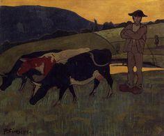 Peasant with Three Crows - Paul Sérusier - The Athenaeum Paul Gauguin, Georges Seurat, Maurice Utrillo, Maurice Denis, Art Français, Singular, Cow Art, Traditional Paintings, Naive Art