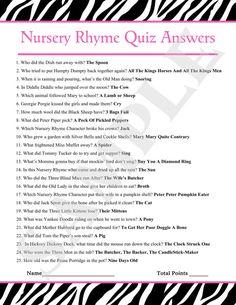 Printable Baby Shower Nursery Rhyme Game Baby Shower Pinterest