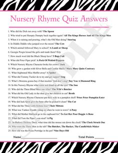Instant Download Printable Nursery Rhyme Quiz by jessica91582