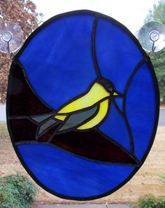 Yellow finch stained glass