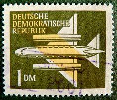 stamp DDR GDR 1 DM green flyer aircraft stamp east germany allemagne postage revenue porto timbre bollo sello marke marka briefmarke stamp
