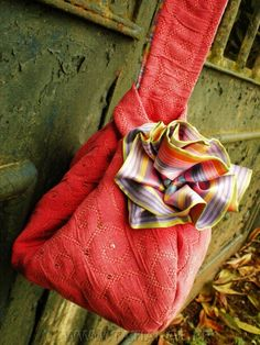 Hot pink sequined clutch with pinstriped handmade rose. www.tatiange.fr
