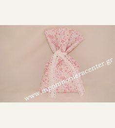 Μπομπονιέρα χειροποίητο πουγκί φλοράλ ροζ - φουξ με δαντέλα