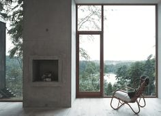 """upinteriors: """"Concrete fireplace between large windows. Forester's House and Service Building by Petra Gipp Arkitektur. Interior Exterior, Interior Architecture, Interior Design, Cabin Design, House Design, Minimalist Fireplace, Simple Fireplace, Fireplace Set, Fireplace Design"""
