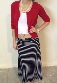 Horizontal Striped Maxi Skirt