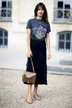 Jeanne Damas in Dior // I will always love the graphic tee and skirt look!
