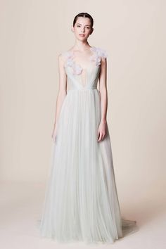 Soft green tulle dress with blush floral applique // Bridal wedding dress inspiration Marchesa Resort 2017 Collection