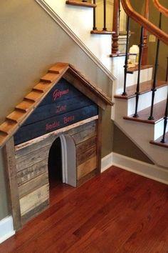 Traditional Hallway with Baseboard molding, Hardwood floors, Custom design dog house