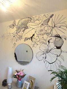 B+W tropical wall art bedroom wall, bedroom murals, bedroom decor, wall Tropical Wall Decor, Mural Wall Art, Wall Paintings, Art Walls, Wall Drawing, Diy Wall, Bedroom Decor, Bedroom Murals, Bedroom Wall