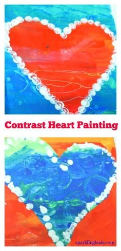 Valentines day simple painting idea for preschoolers. Made with painted papers.