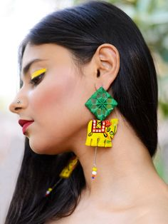 Tribal Elephant Hand-painted Hand-embroidered Earrings – Krafted with Happiness Diy Fabric Jewellery, Fabric Earrings, Handmade Beaded Jewelry, Handmade Jewelry Designs, Textile Jewelry, Handmade Crafts, Feather Jewelry, Tassel Jewelry, Teracotta Jewellery