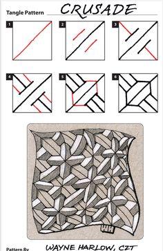 How to draw CRUSADE by Wayne Harlow, CZT « TanglePatterns.com