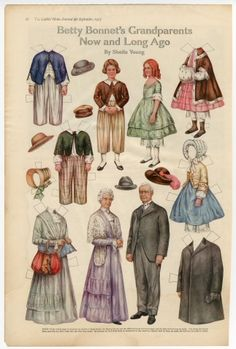 Betty Bonnet's Grandparents Now and Long Ago  paper doll  1917  Artist:  Sheila Young