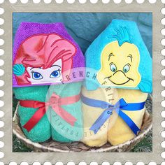 Mermaid & Yellow Fish hooded towel designs. #Embroidery #Applique