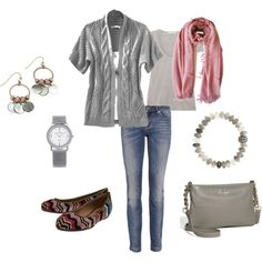 Casual gray with pink - love the Missoni ballet flats