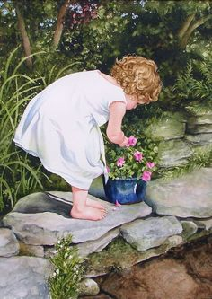 'Flower Picking', by American artist, Jill E. Poyerd, 18 x 13 inches, Watercolor on Watercolor paper