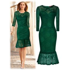 Miusol Women's Elegant Long Sleeve Floral Lace Casual Slim Bridesmaid Dress