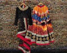 Fine art silk lehenga, multi colour lehenga,black lehenga, printed lehenga,lehenga choli for women, designer lehenga, Lengha, chaniya choli #wedding #clothing #etsy #black #women#ghaghra choli Black Lehenga, Silk Lehenga, Ghaghra Choli, Neck Pattern, Indian Weddings, Indian Dresses, Digital Prints, Black Women, Sequins