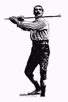 "Pierre Vigny wielding cane.  The ""Vigny Self Defence Stick"" was sturdy and heavy enough to allow the metal head to be used as the point of percussion, offering additional weight to the stick."