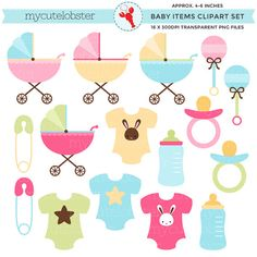 Baby Items Clipart Set - clip art set of strollers, clothes, bottles, baby shower - personal use, small commercial use, instant download