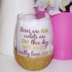 Roses Are Red // Stemless Wine Glass // Bachelorette Wine Glass // Bride Wine Glass // Glitter Dipped Wine Glass by TwinkleTwinkleLilJar on Etsy www.etsy.com/...
