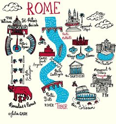 The River Tiber winds its way through Julia's Cityscape of Rome, the aqua blue waters traversed by three beautifully, arched bridges that have become so much part. Rome Map, Voyage Rome, Bullet Journal Travel, Rome Antique, Italy Map, Italy Italy, Rome Travel, City Maps, Map Design