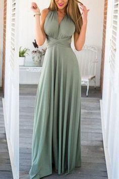 Grey-green Multiway Self-tie Sleeveless Maxi Dress