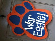 Auburn paw burlap door hanger