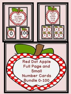 Here is the red apple number cards in a bundle. The bundle includes both the Red Apple Full Page Number Cards 0-100 and Red Apple Number Cards 0-100 (small cards). There is a color background card for each number as well as a white background card for each number to save on ink or for if you would like to cut the apples out.